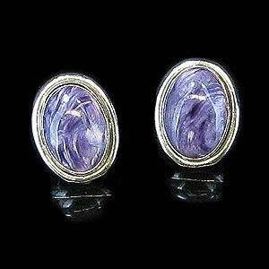 Sterling Silver Natural Purple Charoite Earrings .925