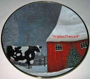 Lowell Herrero Cow Barn Winter Snow Folk Art BARNYARD CHRISTMAS Plate