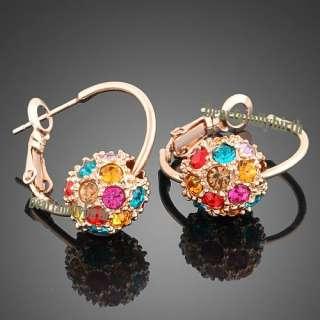 18k Gold Gp Swarovski crystal ball hoop earrings 394