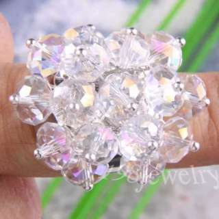 White Swarovski Crystal Faceted Ring SZ 7 10 TZ077