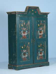 Antique Swedish Hand Painted Blue Armoire Circa 1900