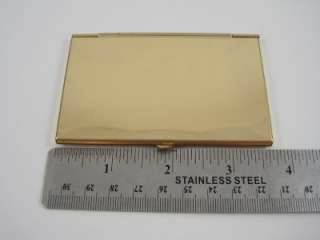 Gold Tone AMWAY Vintage Business Card Holder W/ Felt Case Pouch Signed