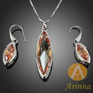 ARINNA topaz yellow marquise pendant necklace earrings sets Swarovski