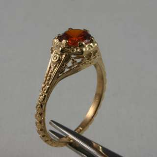 CT Red Zircon Antique Style Filigree 14K Yellow Gold Ring