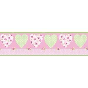 Fun4Walls BO11947 Pretty Flowers Hearts Border, Pink
