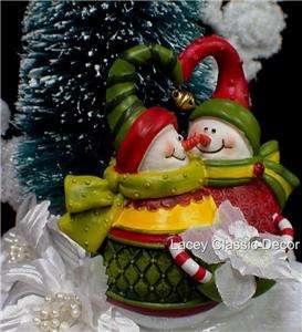 Winter Snowman snow X mas tree Wedding Cake Topper top