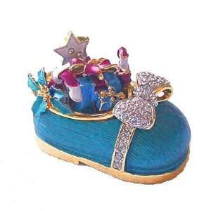Blue Baby Shoe Box Christmas Swarovski Crystals 24K Gold Trinket Pill