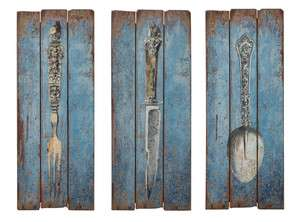 FRENCH CHIC Knife Fork Spoon Utensil WALL DECOR/Art on Wood Mount Blue