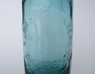 1930s ANTIQUE ART DECO BLUE GLASS SELTZER SIPHON BOTTLE