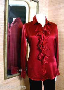 CONTESSA DEEP RED SILK SATIN BLOUSE WATERFALL RUFFLE SHIRT NEW