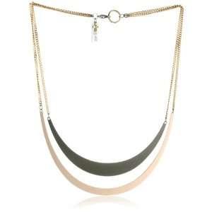 Maiden Art Jewelry Mezzaluna Black and Pink Gold Necklace