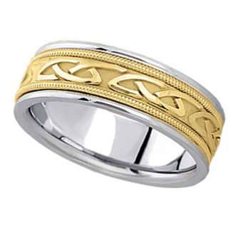 Hand Made Celtic Wedding Ring Band 18k Two Tone Gold 6m