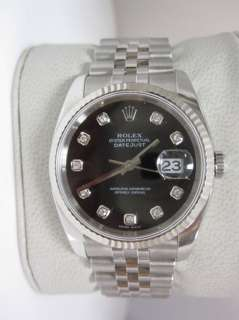 MENS ROLEX DATEJUST STEEL WHITE GOLD 116234 FACTORY BLACK DIAMOND FACE