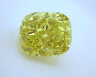 GIA CERTIFIED 3 CARAT FANCY VIVID YELLOW CUSHION CUT DIAMOND
