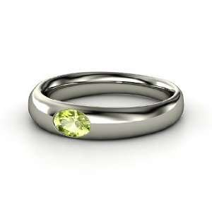 Solo Ring, Oval Peridot 14K White Gold Ring Jewelry