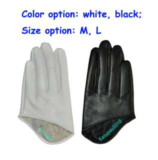 Sexy Lady 5 Fingers Half Palm Genuine Leather Gloves