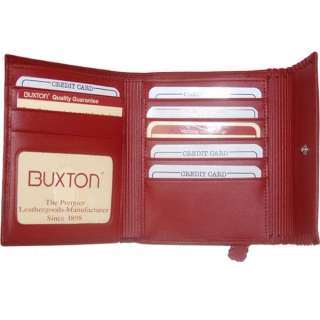 Buxton Genuine Leather Ladies Wallet Red #BX24530S 803698926603