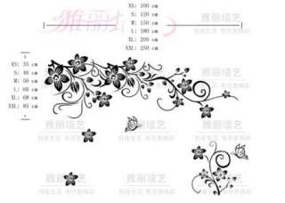 DIY Removable Beautiful Flowers Branch Vinyl Room Wall sticker Paper