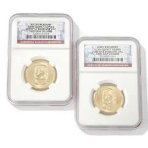 Adams 1 P & 1 D First Day Issue BU NGC (Two Coins)