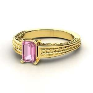 Ceres Ring, Emerald Cut Pink Tourmaline 14K Yellow Gold Ring Jewelry