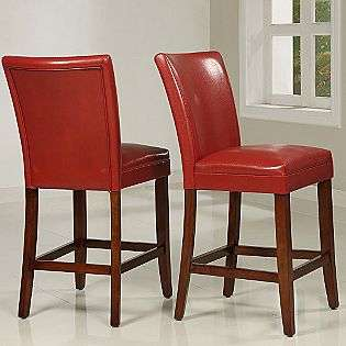 Wine Red Faux Leather Counter height Chairs (Set of 2)  Oxford Creek
