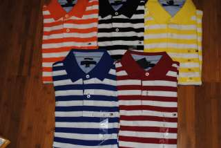 NEW MENS TOMMY HILFIGER MESH STRIPE POLO SHIRT COLOR/SIZE