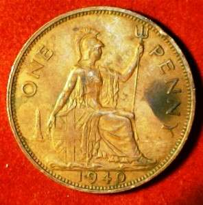 1940 King George VI Great Britain Bronze One Penny