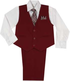 New Baby,Toddler & Boy Wedding Easter Formal Vest Suit Burgundy sz