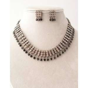 Clear/Jet/Pewter Necklace Earring Set