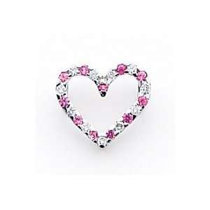 14k White Gold Pink Sapphire and Diamond Chain Slide   Measures 12