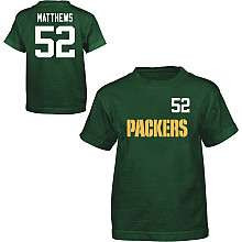 Reebok Green Bay Packers Clay Matthews Youth Name & Number T Shirt
