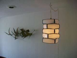 Mid Century Modern Lamp Light Chandelier Pendant Hanging Stained Glass