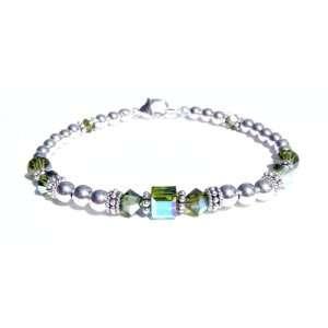 Dark August Peridot Sterling Silver Swarovski Crystal Beaded Bracelets
