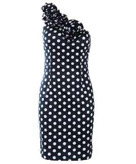 Navy Polka  Dress on Navy  Blue  Ax Paris Navy One Shoulder Polka Dot Dress 257643241
