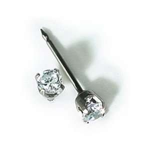 com INVERNESS 14K White Gold 3mm Tiffany CZ Piercing Earrings Health