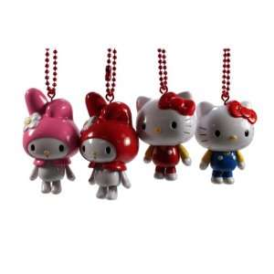 Set of 4 Sanrio My Melody & Hello Kitty Figure Keychain Strap / Cell