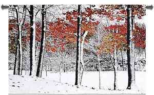 WINTER SNOW TREE SCENE DECOR ART TAPESTRY WALL HANGING