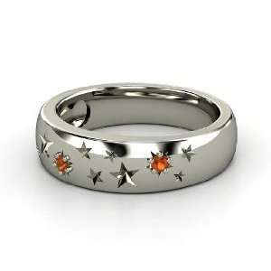 Written in the Stars Ring, Platinum Ring with Fire Opal