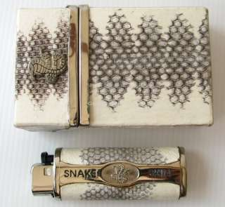 GENUINE SEA SNAKE LEATHER CIGARETTE CASE & LIGHTER CASE