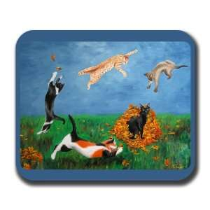 Cats Autumn Dance Art Mouse Pad: Everything Else