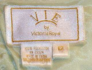 VIE by VICTORIA ROYAL Mint Green Beaded Satin Formal Top & Long Skirt