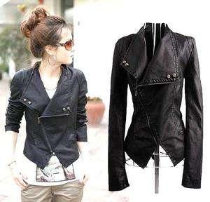 J107 Trendy Korean Fashion Women PU Leather Slim Jacket Coat SZ S M L