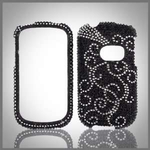 Silver Swirl on Black Cristalina crystal bling case cover for Huawei