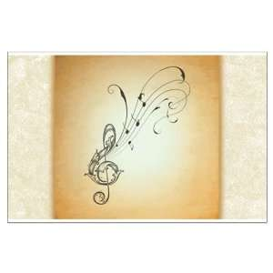Large Poster Treble Clef Music Notes