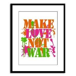 Large Framed Print Make Love Not War Peace Symbol Sign