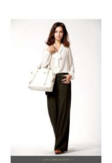 DUDU Womens Leather Tote/Shoulder Bag Light Coffee A153