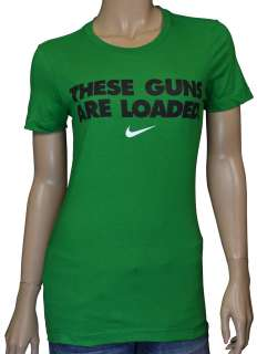 Nike Womens These Guns Are Loaded Shirt Green