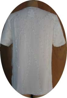 IVORY BEADED EVENING TOP NWT by JOSEPH LE BON   SIZE 12