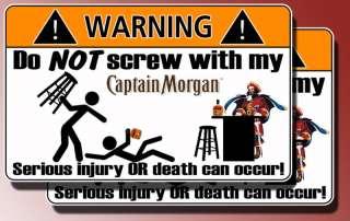 Funny Captain Morgan Warning sticker Rum decal