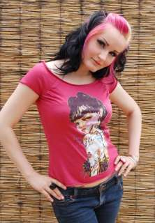 Rockabilly TATTOO Girl Pin Up Shirt Batcave Emo Punk